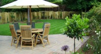 picture of a dining 'room' in a garden