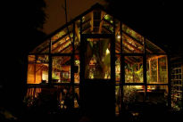 image of a greenhouse at night