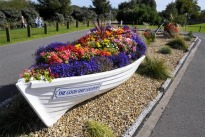 image of boat planted with flowers