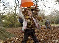 image of girl throwing leaves
