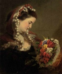 image of woman with bouquet of flowers