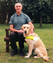 image of seeing eye dog and owner