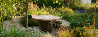 image of seating in garden for joy