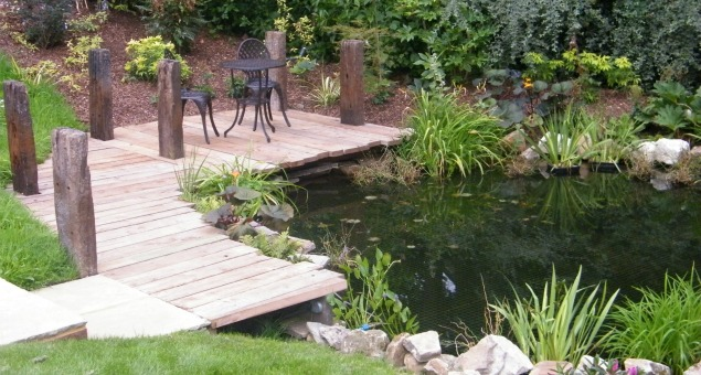 image of garden pond with deck