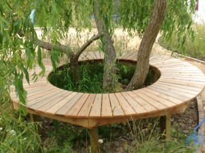 Pavilion and Pool House Garden - circular-seating