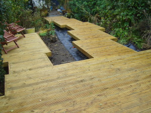 Lush Tropical - decking-being-built