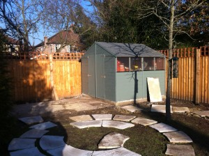 Artist's Garden - laying-out-the-paving