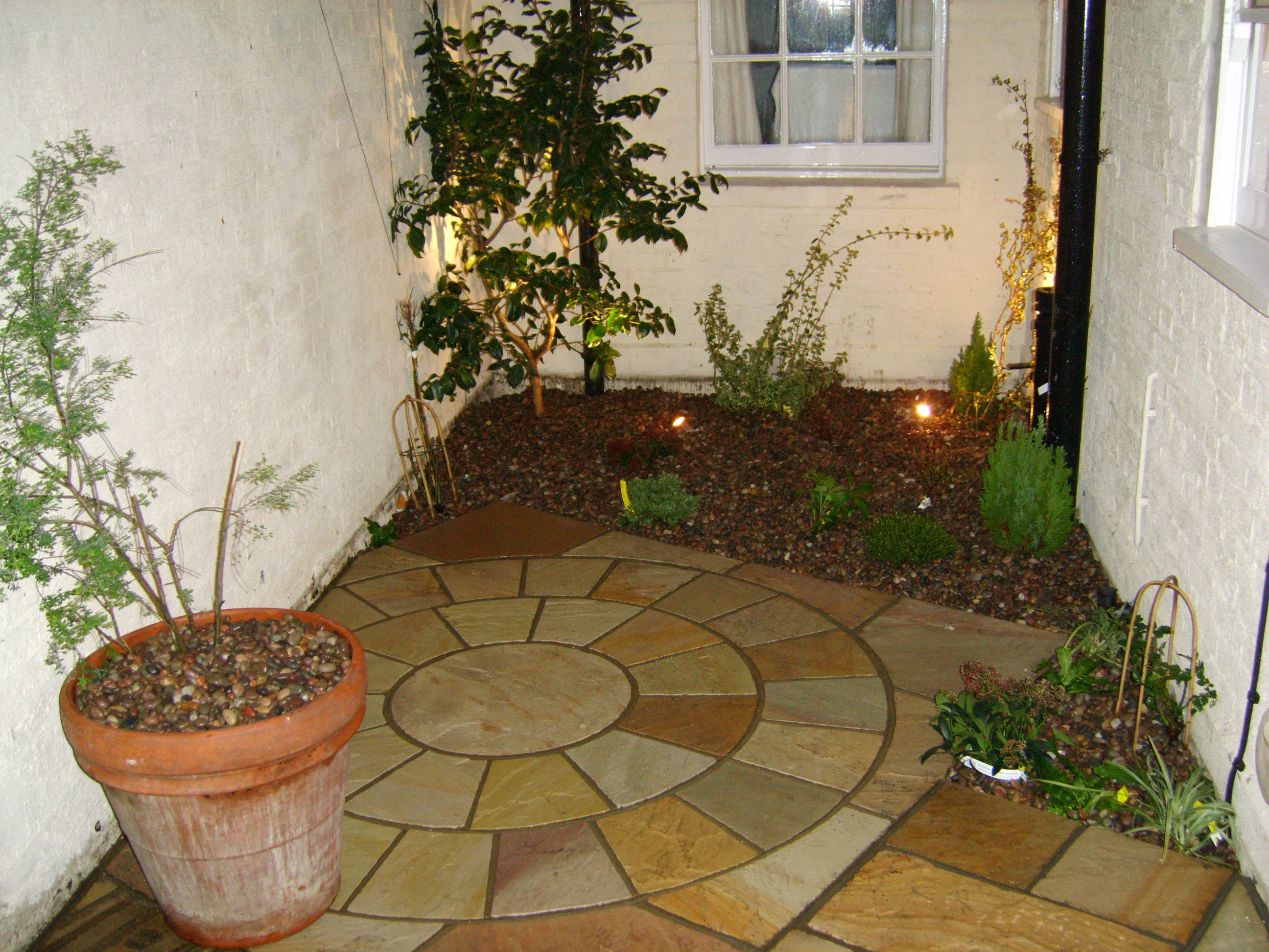 Tiny courtyard floral hardy london uk for Very small courtyard ideas