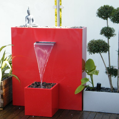 Red Water Feature in Action
