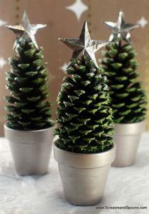 image of decorated fir cone with star