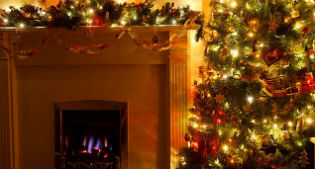 image of christmas tree and fireplace