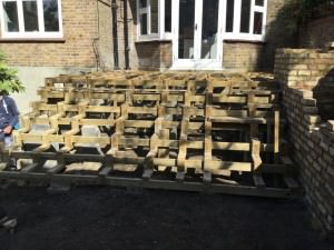 Hampstead Garden Design - structure-going-in
