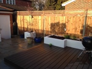 Guildford Garden Design - the-deck-and-flower-beds