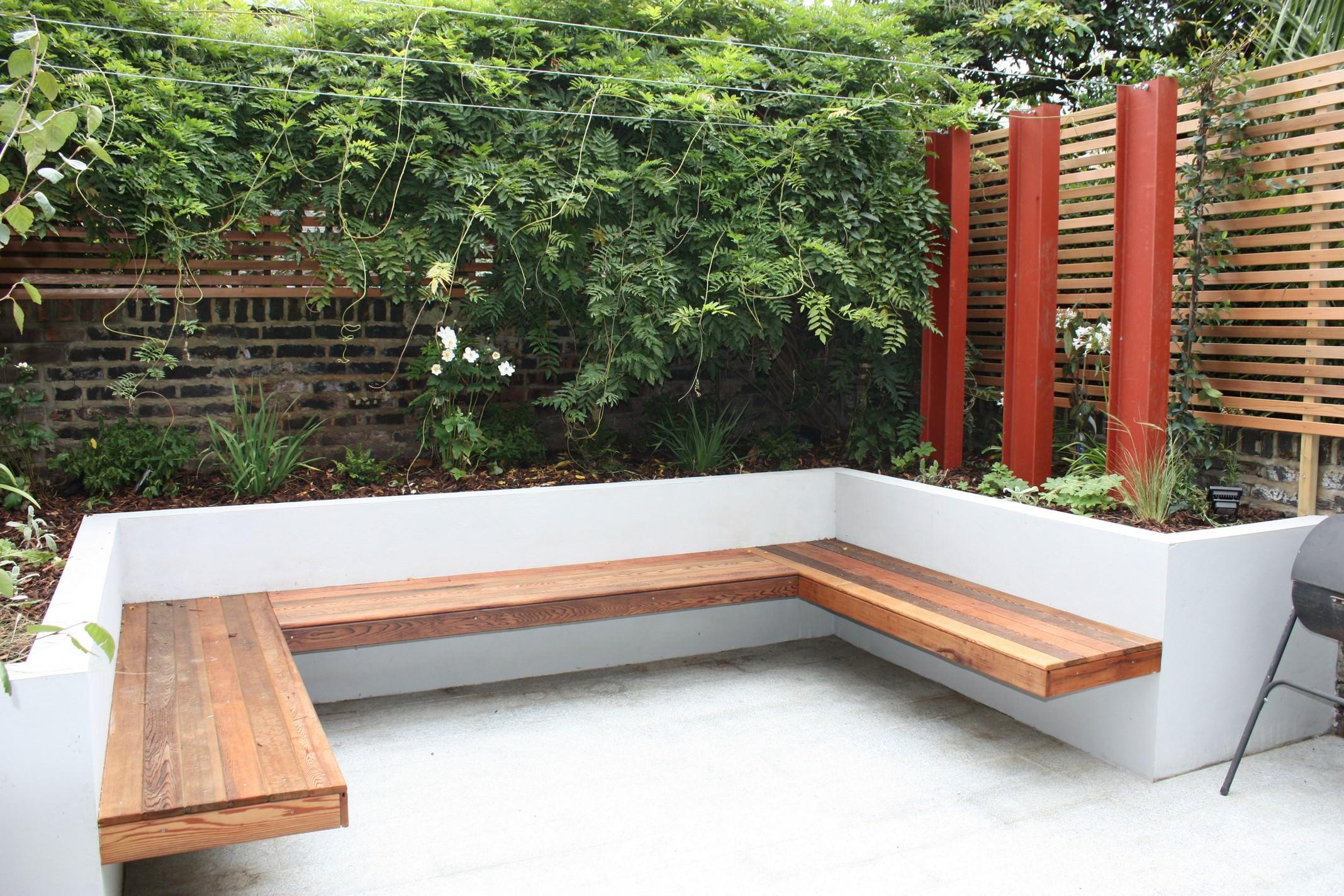 Hackney garden design by floral hardy uk for Floating bench plans