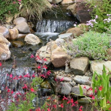 garden rocks and waterfall