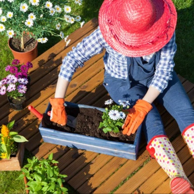 gardener in red hat works with flowers