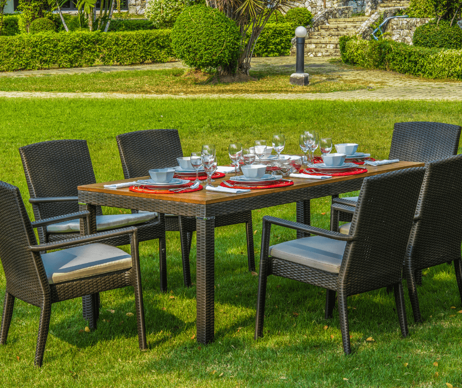 setted table in the garden